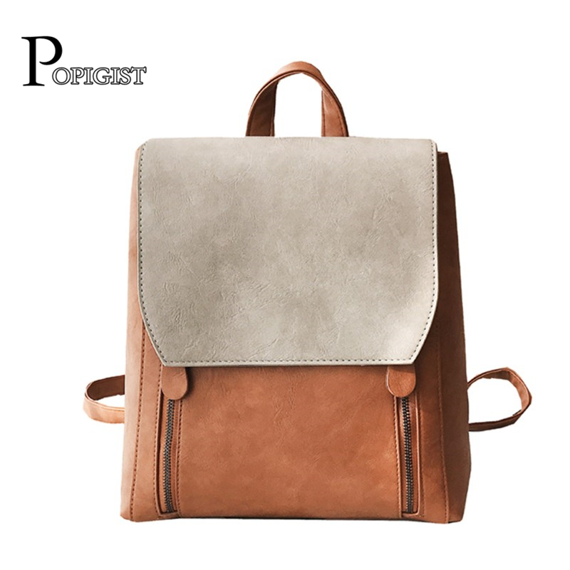 POPIGIST brand design fashion women's Backpacks Shoulder Bag SchoolBags college students Casual leather Backpack foru design 600d fashion backpack brand design school book bag polyester bag men computer packsack swiss outsports backpacks