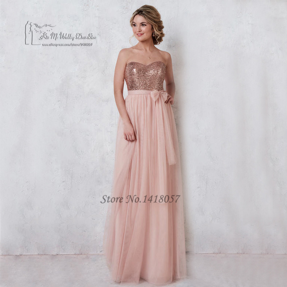 Online get cheap sell bridesmaid dress aliexpress alibaba group hot sell pink sequined bridesmaid dresses long tulle bow low back wedding guest wear dress 2017 ombrellifo Image collections