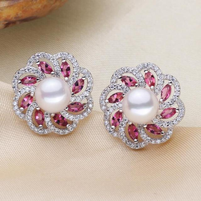 Freshwater Pearl Stud Earring,western, Flower, silver color plated, natural & micro pave cubic zirconia, white, 8-9mm