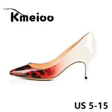 Kmeioo Brand US Size 5-15 Leopard Women Pumps 2018 Spring Pointed Toe Patent 6.5 CM Stilettos Kitten Heels Bride Wedding Shoes