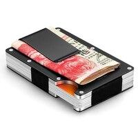 Minimalist Metal Card Holder RFID Blocking Bank Card Wallet Aluminum Safe Card Holder With Money Clamp