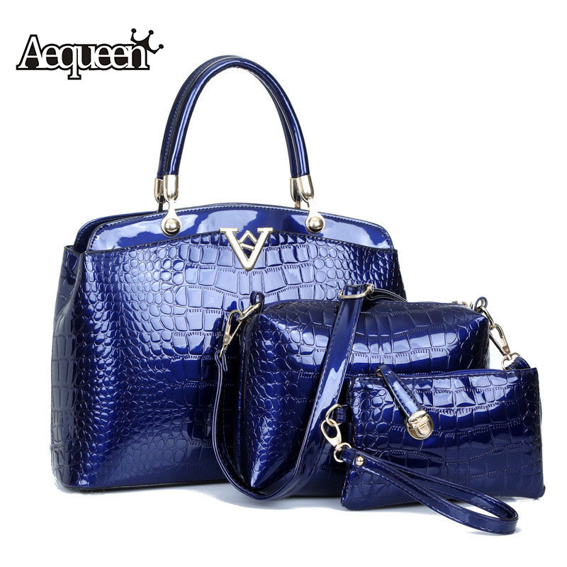 ФОТО New Women Handbag 3PCS Bag Sets Fashion Leather Crocodile Messenger Bags Lady Shoulder Bags Designer Handbags High Quality