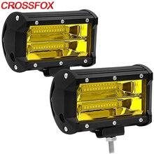 Światła przeciwmgielne 2 sztuk żółty listwa Led lampa do jazdy Offroad robocza listwa oświetleniowa wodoodporna IP67 dla Jeep pojazd ATV SUV motocykl ciężarówka 12V/24V