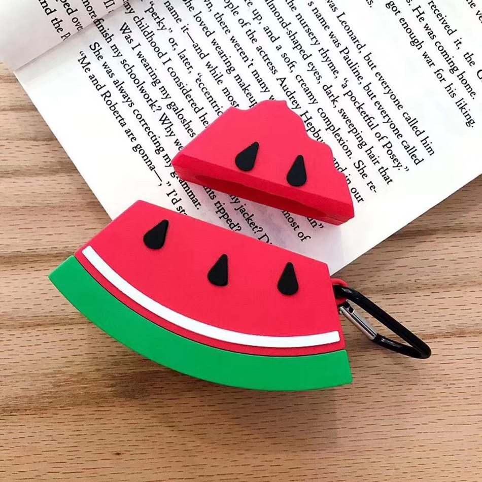 3D Earphone Case For Airpods 2 Case Silicone Watermelon Cartoon Headphones Cover For Apple Air Pods 1 Case For Earpods Key Ring