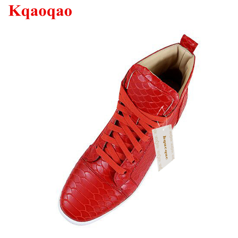 Luxury Brand High Top Men Casual Shoes Red Color Lace Up Men Leather Shoes Fashion Sneakers Stylish Flats Chaussures Pour Hommes mycolen high quality men white leather shoes fashion high top men s casual shoes breathable man lace up brand shoes