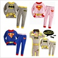 hot sell  Boys and girls cartoon suit kids tracksuits  kids Batman Superman clothes long sleeve  leisure suits sleeping clothes