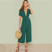 abcc7024d0d7 COLROVIE Plunge Belted Culotte Women Green Deep V Neck Sexy 2018 New Short  Sleeve
