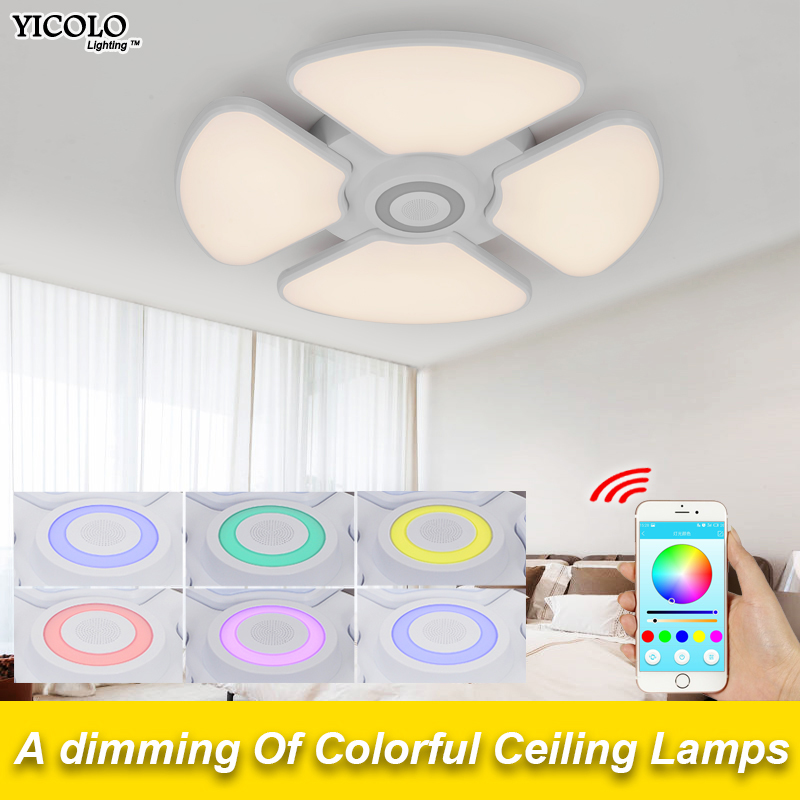 Music Modern Ceiling Lights Cold White+Warm White Luminaria APP Bluetooth control Music Ceiling lighting Intelligent Lampshade