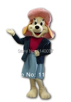 mascot Brand New Pink Hat Yellow Basset Dog Mascot Costume Cartoon Character Mascotte Outfit Suit Dog Carnival Costume