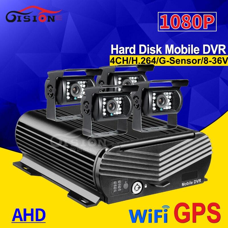 Wifi GPS HDD 4CH Hard Disk Auto Car Recorder Mobile Dvr 2TB 256G SD Storage I