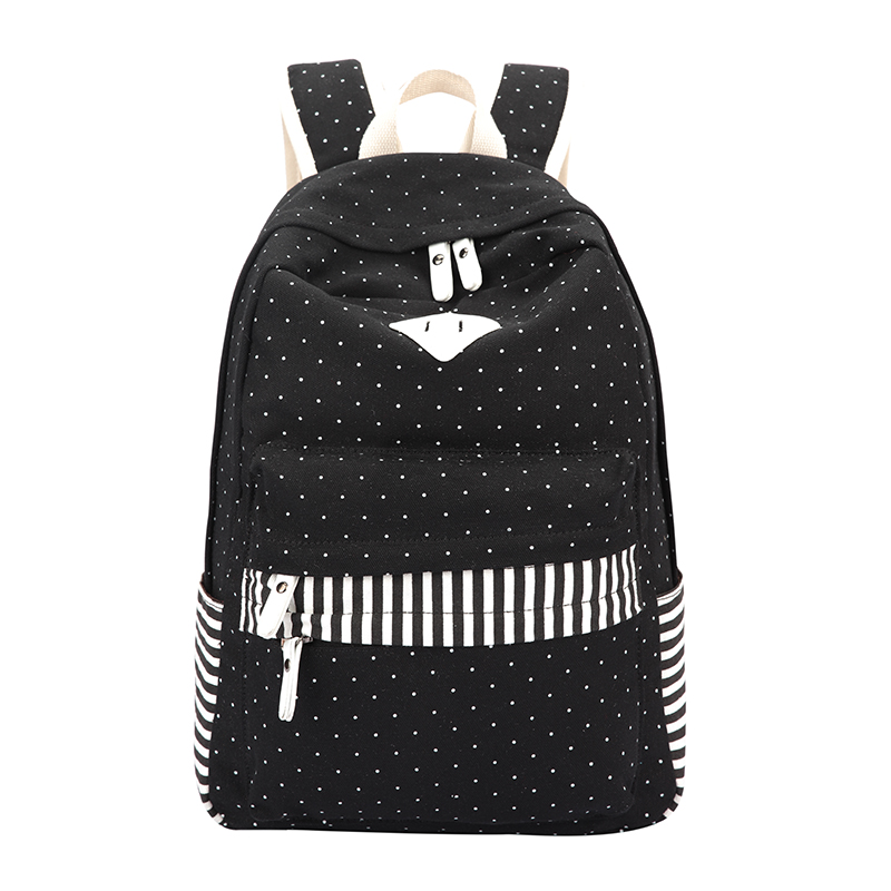 Ethnic Women Backpack for School Teenagers Girls Vintage Stylish Ladies Bag Backpack Black Dotted Printing High Quality Backpack
