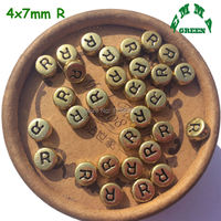 Vintage 3600 Pieces Flat Round Single Alphabet Gold Letter A B C D E F G H I J K L M N O P Q R S TO Z Bead 4x7mm For DIY Jewelry