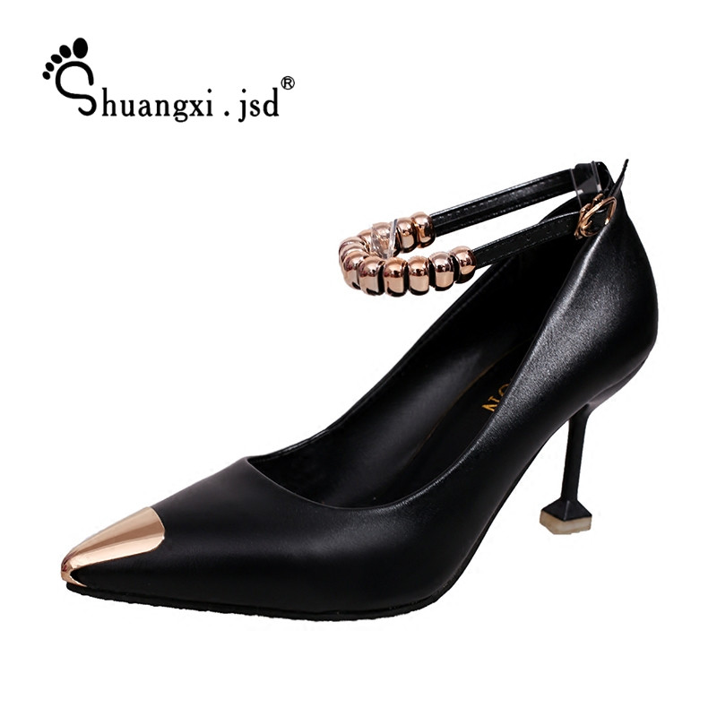 Woman Shoes 2017 Fashion PU Leather Women Shoes New High Heels Normal Size 35 39 High