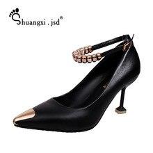 Женская обувь Мода 2017 г. женская обувь из искусственной кожи новые Высокие каблуки стандартные размеры 35–39 7 см Zapatos Mujer tacon Chaussures Femmes