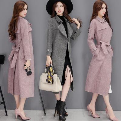 2016 Осень новых Корейских Женщин ПР ветровка длинный размер Тонкий замши весна и осень пальто