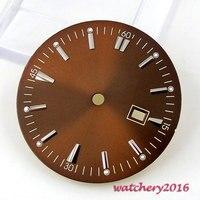 34.8 мм коричневый циферблат окошко даты Fit 2836 mingzhu 2813 4813 движение
