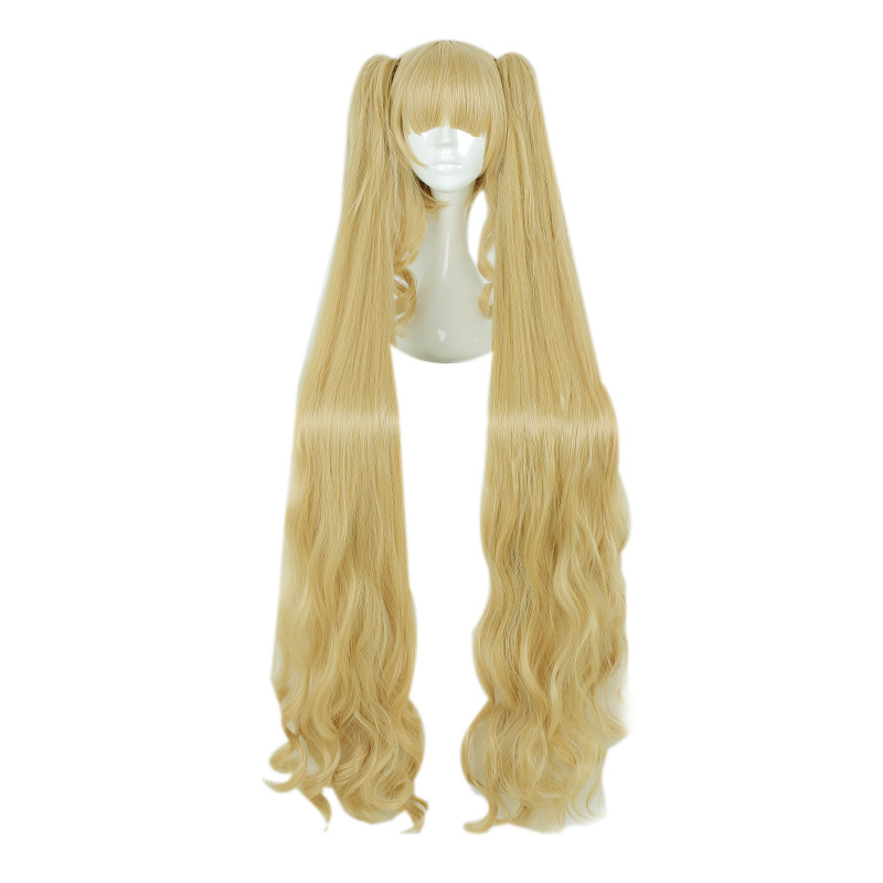 MCOSER 120cm Long Straight Synthetic Blond Color Cosplay Costume Wig+2 Ponytails 100% High Temperature Fiber Hair 666A