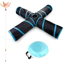 Upgraded Cat Tunnel Toy 4 Way Collapsible Kitten Interactive Toys Set with 1PCS Feather Wand for Indoor Outdoor Use