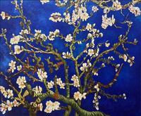 Free Shipping Modern Blossom Tree Oil Painting on Canvas Handmade Blue Background Flower Van Gogh Landscape Wall Artwork