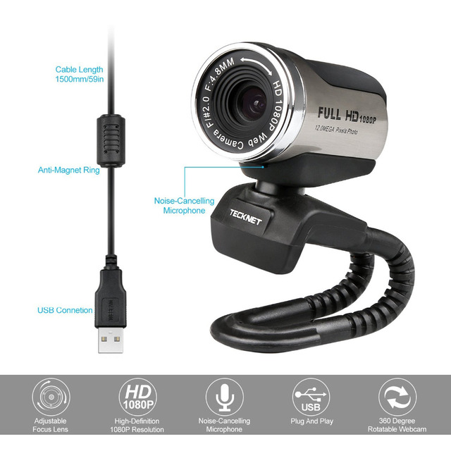 TeckNet 1080P HD Webcam with Built-in Noise-cancelling Microphone 1980x1080 Pixels USB Web Camera for Desktop Laptop Notebook PC 3