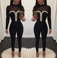 Sweetheart Women Mesh Patchwork Sexy See through Women Club Skinny Bodysuits Women One Piece Jumpsuit