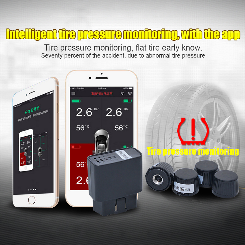 wireless TPMS Mobile phone APP bluetooth control display tire pressure monitor alarm 4 external sensors support OBD Interface