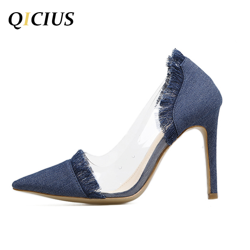 QICIUS Fashion Newest 2017 Tassel Pointed Toe Thin High Heels Sexy Pumps Women Shoes Blue Jeans Shoes Woman High Quality B0077 sexy black leather pointed toe high heels pumps shoes newest woman s lace up thin heels shoes party shoes