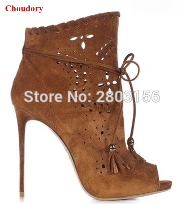 New Design Women High Heel Boots Peep Toe Fashion Suede Leather Cut Outs Tassel Lady Pumps Shoes Sexy Stiletto Heel Booties  light khaki boots for women rivet peep toe platform boots studded suede women stiletto heel open toe sandal boot womens leather