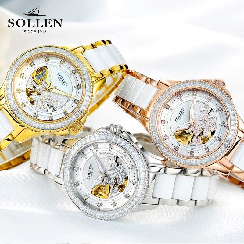 2018 Solon authentic ladies watch tourbillon automatic mechanical watch female fashion waterproof ceramic women's watch цена и фото