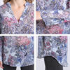 Casual shirts print long sleeve V-neck ladies loose Blouses  4