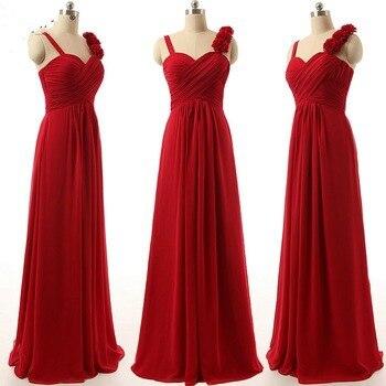 2015 fashion style three pink flower purple blue ice red black chiffon rectangular royal   bridesmaid     dress   free shipping