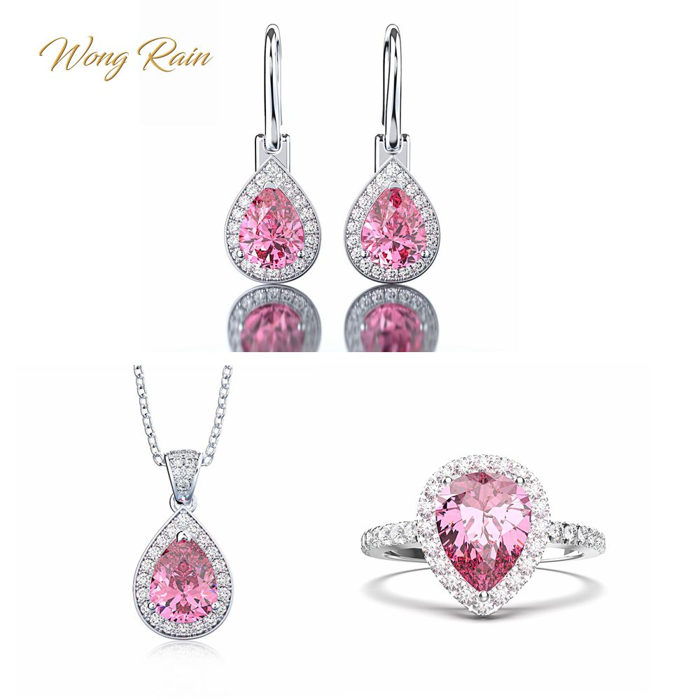 Wong Rain 100% 925 Sterling Silver Pear Water Drop Pink Sapphire Gemstone Hook Earrings Ring Necklace Fine Jewelry Set Wholesale