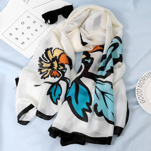 Spring and autumn fashion silk scarves womens long soft luxury scarf shawl designer women 2019