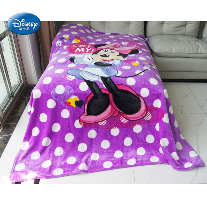 Disney Cartoon Lilic Minnie Mouse Soft Lightweight Summer Blanket Throw for Girls Children on Bed Sofa Couch 150X200CM Kids Gift