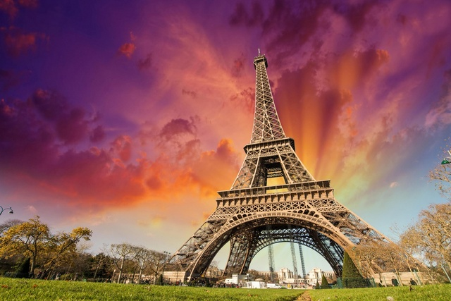 Eiffel Tower Paris France Sunset City Landscape Kb763 Living Room Home Wall Modern Art Decor