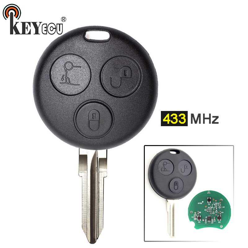 KEYECU 1x / 2x / 5x 433MHz New Replacement 3 Button Remote Car Key Fob for Mercedes Benz Smart Fortwo Forfour City Coupe CabrioKEYECU 1x / 2x / 5x 433MHz New Replacement 3 Button Remote Car Key Fob for Mercedes Benz Smart Fortwo Forfour City Coupe Cabrio
