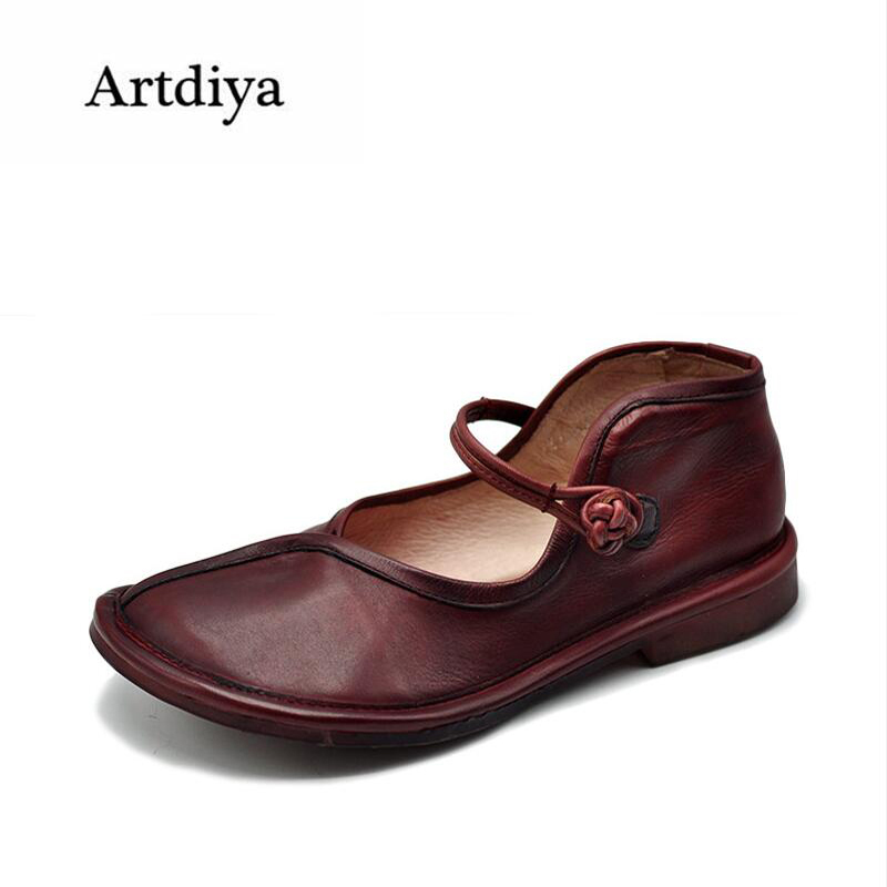 Artdiya Original Spring 2018 New Retro Big Toe Shallow Mouth Genuine Leather Buckle Comfortable Flat Shoes Women Shoes FL131-8 aiyuqi 2018 new genuine leather women s shoes shallow mouth soft nurse shoes comfortable work spring shoes women
