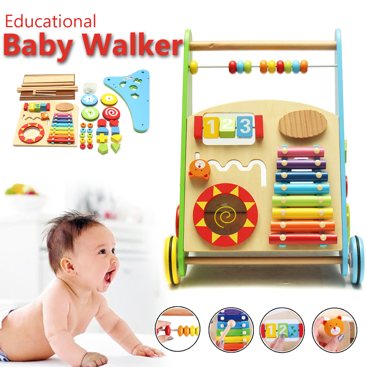 Children Cabinets Wooden Baby Walker Cart Baby Early Education Multi-purpose Vehicle Toy Early Puzzle Toy For Kids Gift