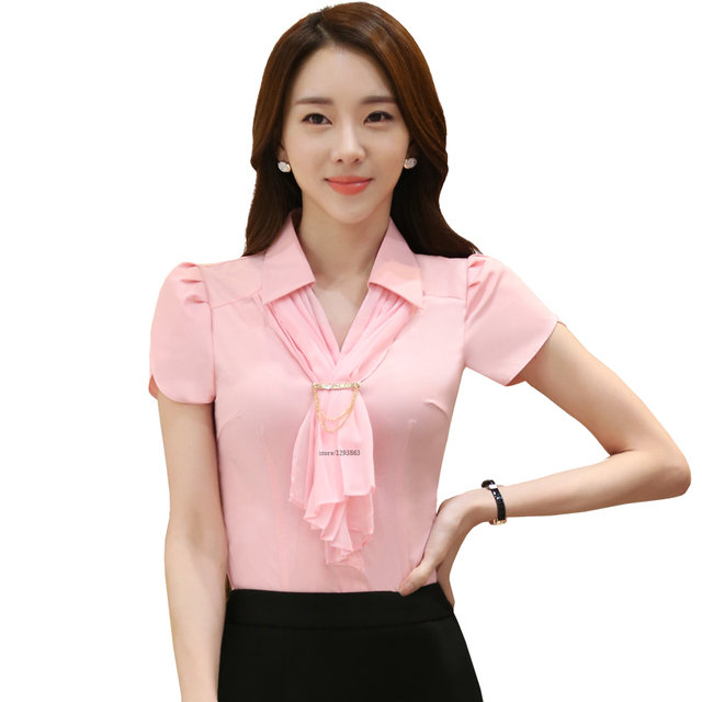 69749fdeaaacb0 Scarf Shirts Pink Blouse With Tie Petal Sleeve Casual Style New Fashion  Short Sleeve Tops Women Summer Wear