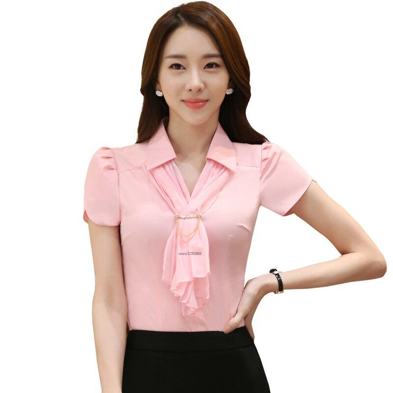 Spiksplinternieuw Sjaal Shirts Roze Blouse Met Stropdas Petal Mouwen Casual Stijl FE-67