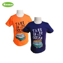 2019 High quality Summer boy orange blue cotton short sleeve T-shirt with big bus ,soft Comfortable fabric ,kids child clothes