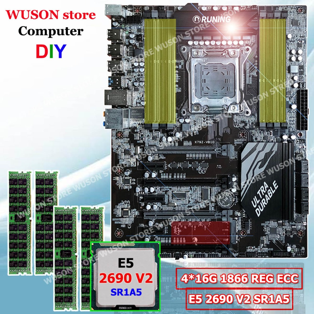 Nueva llegada Runing ATX X79 super placa madre procesador Intel Xeon E5 2690 V2 3,0 Ghz SR1A5 memoria 64G (4*16g) 1866 MHz REG ECC