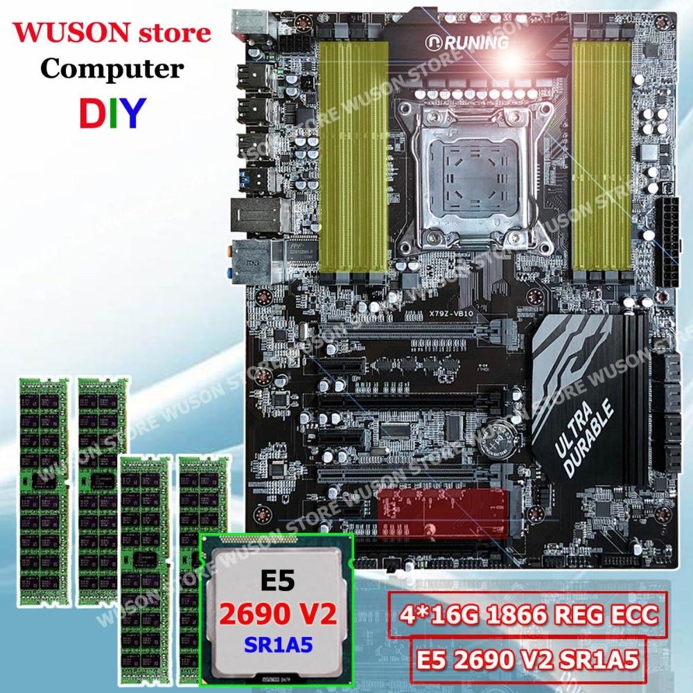 Nuovo arrivo Runing ATX X79 super scheda madre processore Intel Xeon E5 2690 V2 3.0GHz SR1A5 di memoria 64G (4*16G) 1866MHz ECC REG