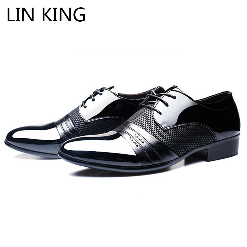 LIN KING Plus Size Men Leather Shoes Lace Up Pointed Toe Casual Shoes Man Business Dress Shoes Ankle Formale Shoes For Wedding