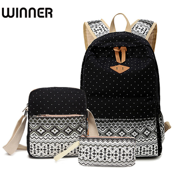 Preppy Stylish Canvas Printing Backpack Women School Bags for Teenage Girls Cute Black Set Travel Backpacks Female Bagpack