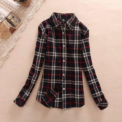 2017 hot sprzedaż jesień zima panie kobieta casual cotton lapel bluzka bluzki z długim rękawem kratę koszula kobiet szczupła odzieży wierzchniej clothing 33