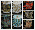 5Meter Plated Wire Wrapped Beaded Rosary Chains in Mix Color Faceted Rondelle Crystal Beads Jewelry Chain JD030