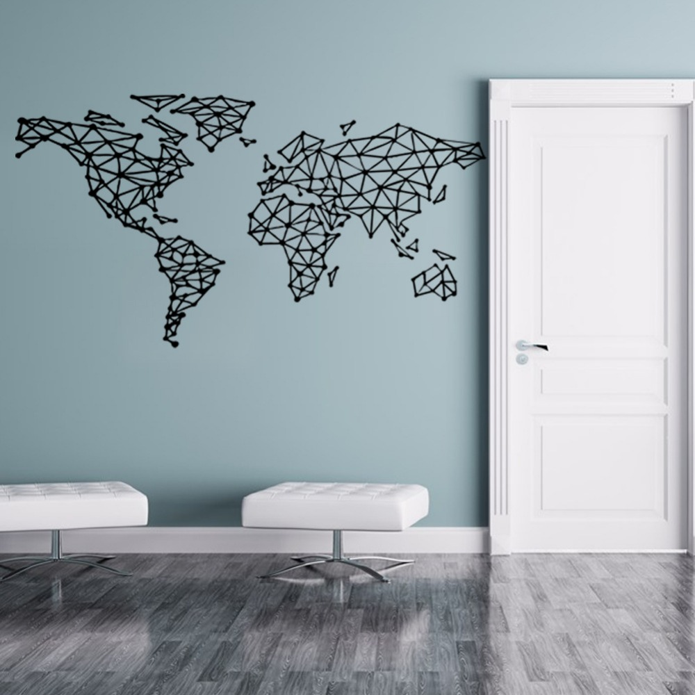 I-GO-free-shipping-Map-of-the-world-vinyl-wall-decal-home-decor-Geometric-Removable-World