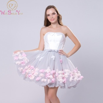 White-Gray Evening Dresses 2020 Colorful Flower Short Ball Gown Strapless Satin Tulle Sweet Party Formal Prom Gowns Banquet Robe