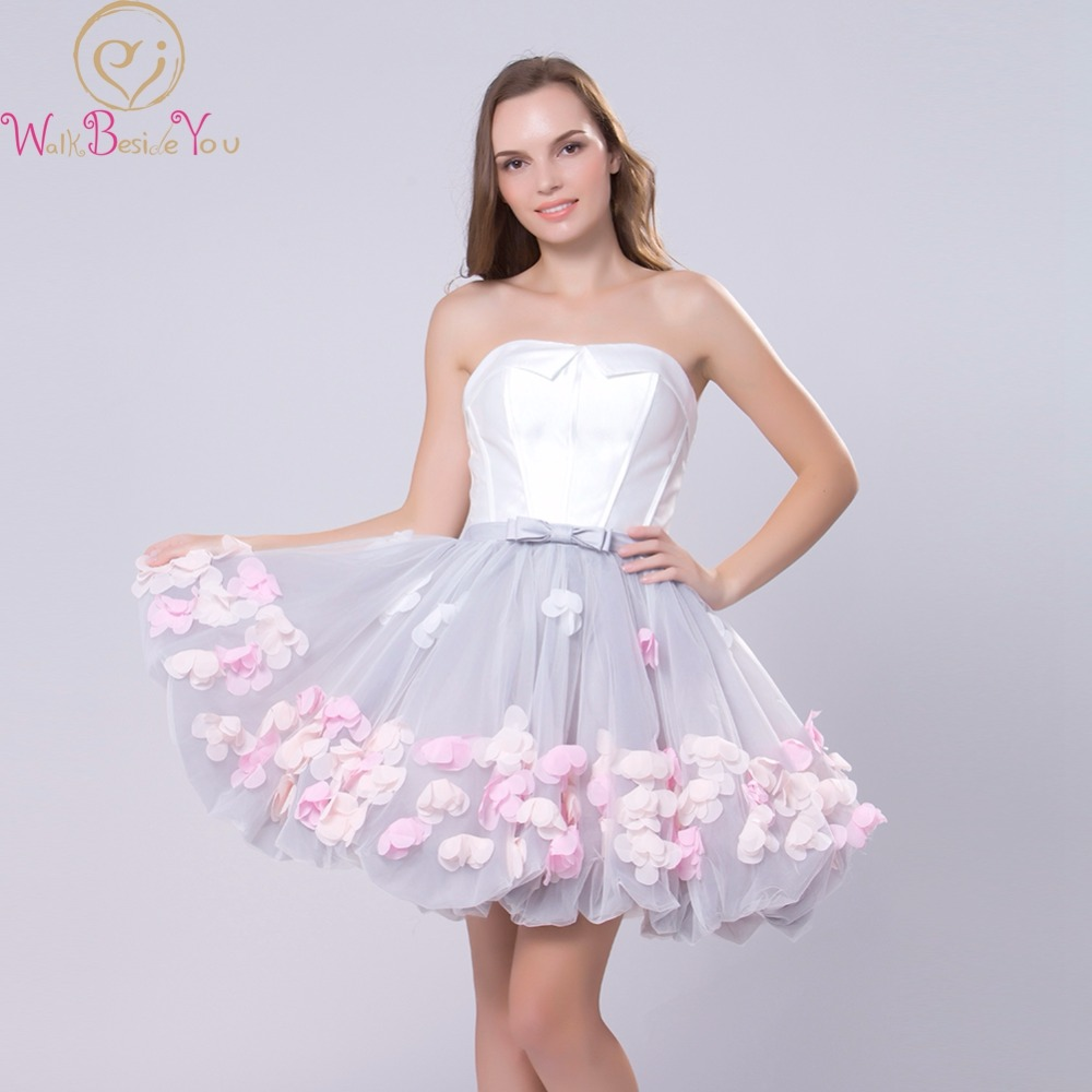 White-Gray   Evening     Dresses   2019 Colorful Flower Short Ball Gown Strapless Satin Tulle Sweet Party Formal Prom Gowns Banquet Robe